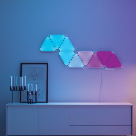 Kit panouri luminoase modulare inteligente Nanoleaf Aurora Rhythm, cu senzor muzica, LED RGBW, Wi-Fi, 9 panouri